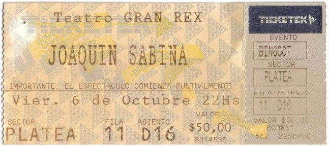 Entrada Gran Rex Sabina - 6 Oct 2000